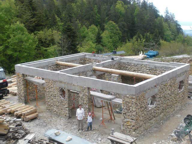 Building A Stone And Log House In France