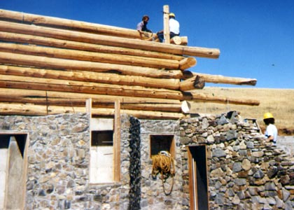 Stone and log home construction building a passive solar for Cheapest construction method