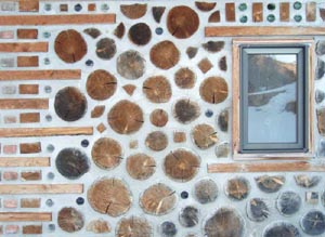 Wall Of A Cordwood Home.