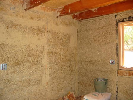 Straw plaster inside a home.