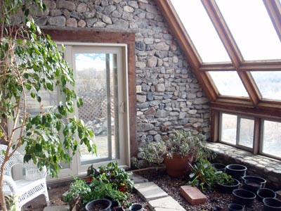 Inside A Solar Greenhouse. Passive Solar Design