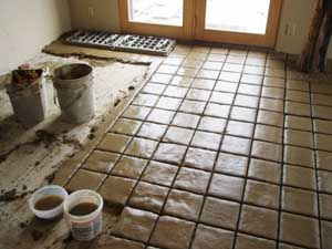 Terra Tile Floor With Fresh Mortar.