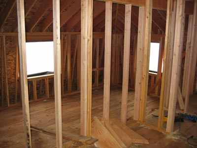 Wood Framed Walls Of A House Frame Construction Building With Dimensional Lumber